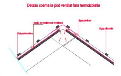 Detalii de montaj la acoperisuri ventilate fara termoizolatie